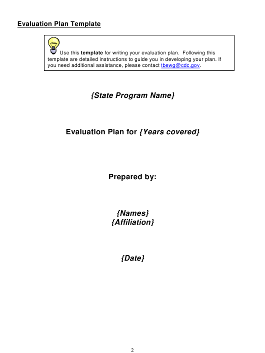 """Evaluation Plan Template"" Download Pdf"