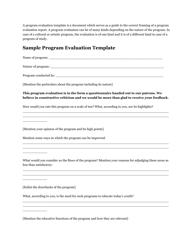 """Program Evaluation Template"""