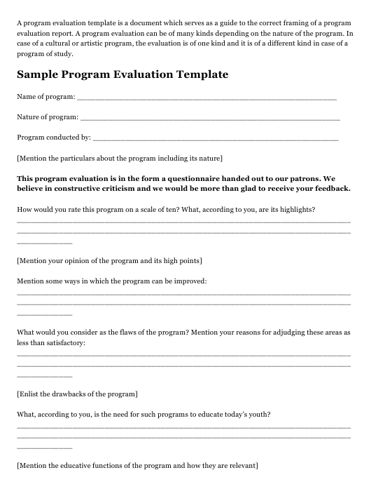 """Program Evaluation Template"" Download Pdf"
