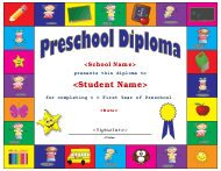 """Preschool Diploma Template"""