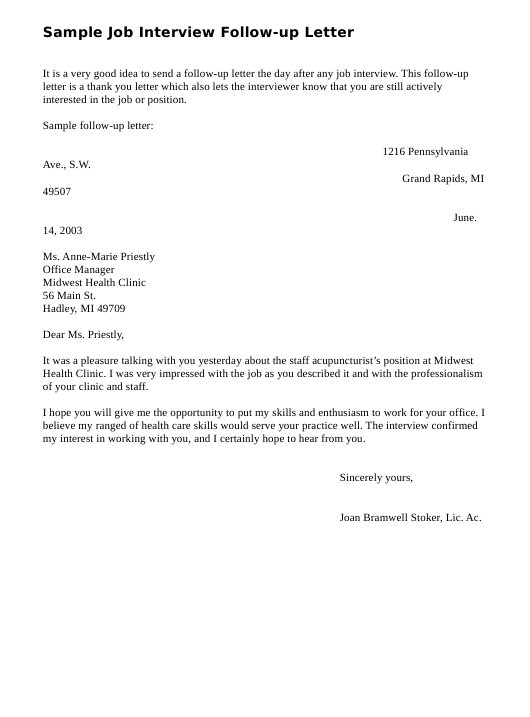 Follow Up Letter After Resume from data.templateroller.com
