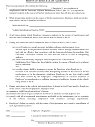 """""""personal Vehicle Lease Agreement Template"""""""
