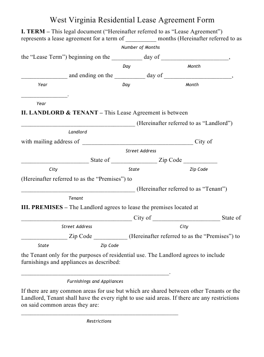 Residential Lease Agreement Form West Virginia Download