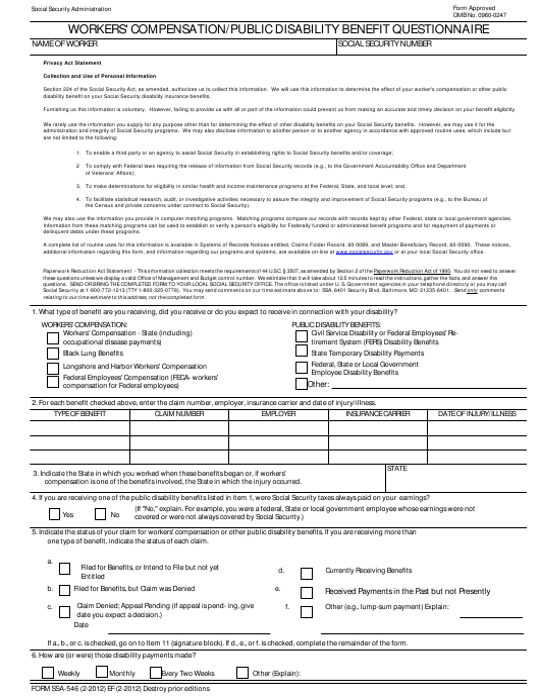 Form SSA-546 Printable Pdf