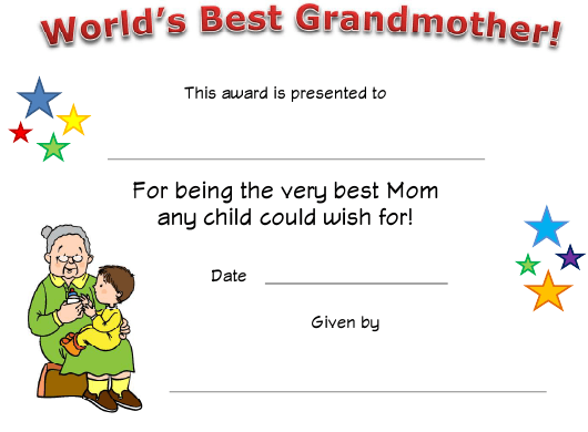 """""""World's Best Grandmother Certificate Template"""" Download Pdf"""