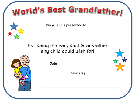 """World's Best Grandfather Certificate Template"" Download Pdf"