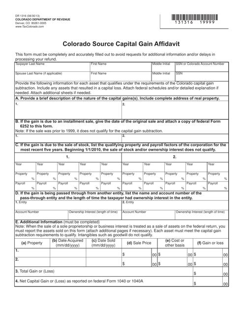 Form DR1316  Printable Pdf