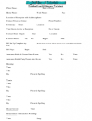 Wedding/Event Dj Itinerary Worksheet - Magical Sound Entertainment