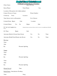 """Wedding/Event Dj Itinerary Worksheet - Magical Sound Entertainment"""