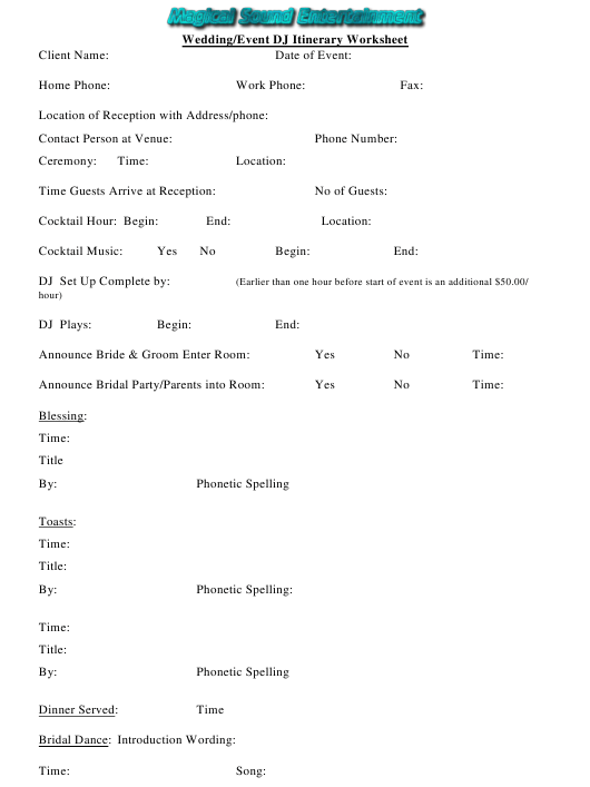 Wedding/Event Dj Itinerary Worksheet - Magical Sound Entertainment Download Pdf