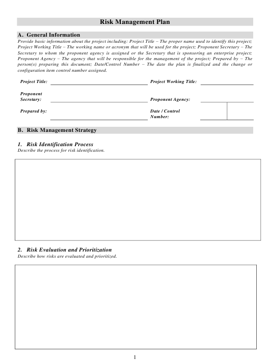 Risk Management Plan Template Download Pdf