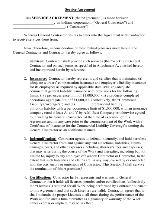 Service Agreement Template Download Pdf