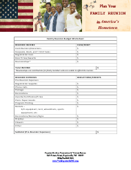 """Family Reunion Budget Worksheet - Fayetteville Area Convention & Visitors Bureau"""