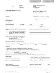 "Form 10516 ""Affidavit of Service"" - New Jersey"
