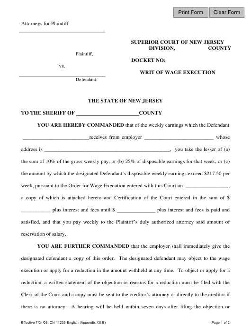 Form 11235 Appendix XII-E  Printable Pdf