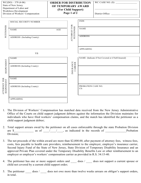 Form WC(DO)-379  Printable Pdf