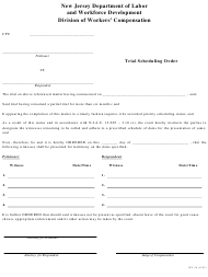 "Form WC-16 ""Trial Scheduling Order"" - New Jersey"