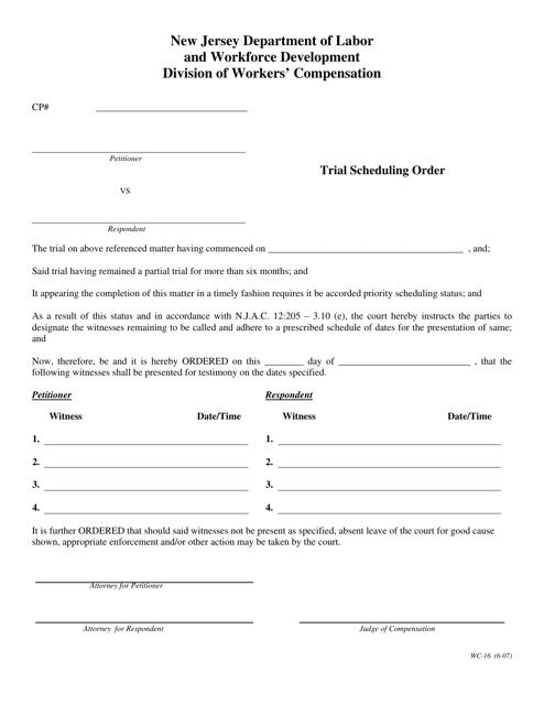 Form WC-16  Printable Pdf