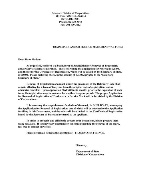 """""""Application for Renewal of Registration of Trademark or Service Mark"""" - Delaware Download Pdf"""