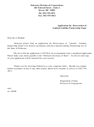 """""""Application for Reservation of Limited Liability Partnership Name"""" - Delaware"""