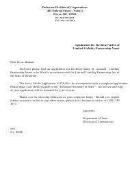"""""""Application for Re-reservation of Limited Liability Partnership Name"""" - Delaware"""