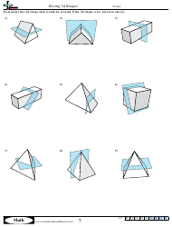 Slicing 3d Shapes Geometry Worksheet With Answer Key
