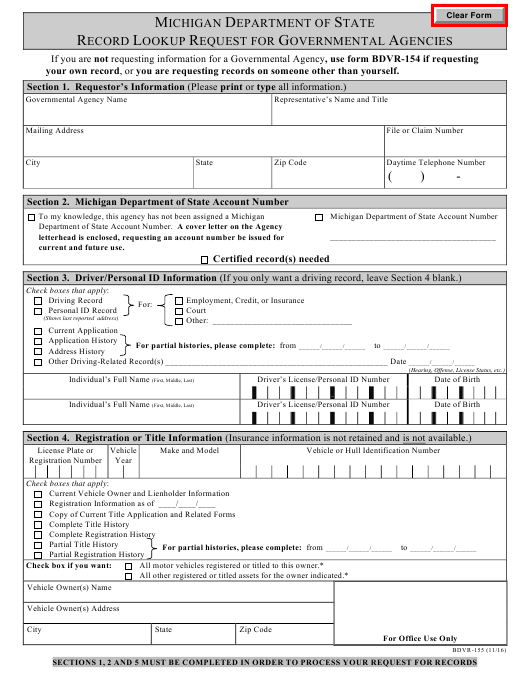 Form BDVR-155 Download Fillable PDF, Record Lookup Request for