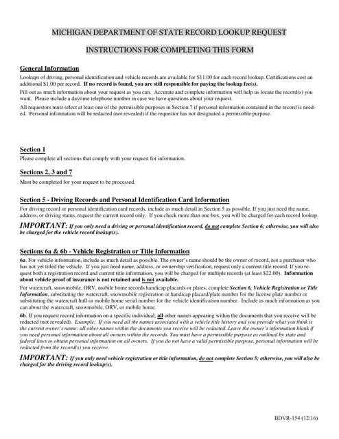 Form BDVR-154 Printable Pdf