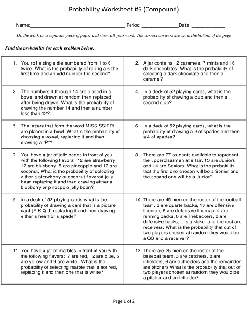 compound probability worksheet