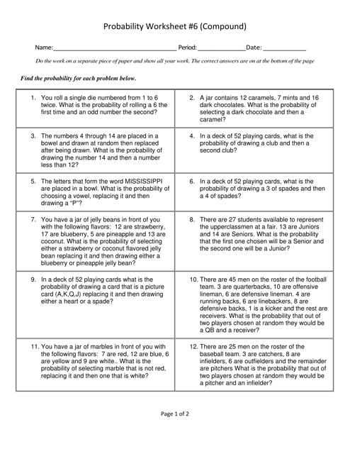 Compound Probability Worksheet - Lassiter High School ...
