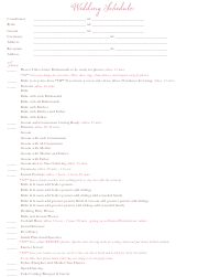 Wedding Schedule With Contacts List Template
