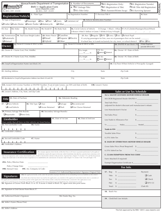 Rmv 1 Form >> Form Rmv 1 Download Fillable Pdf Or Fill Online Vehicle