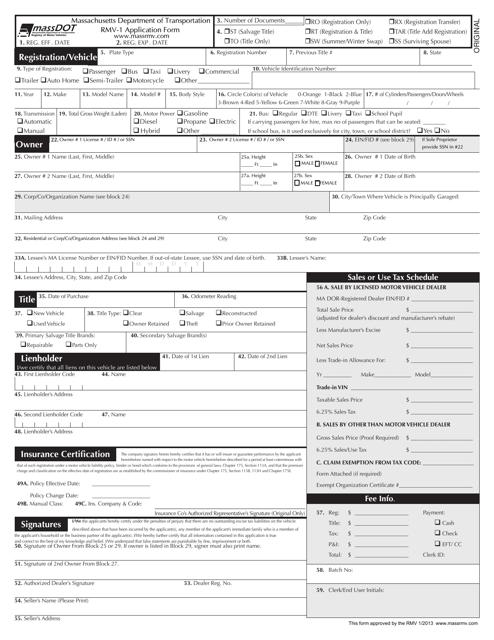 Form RMV-1 Printable Pdf