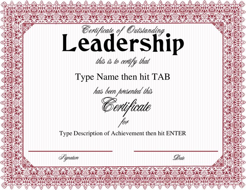 Leadership Certificate Template Download Fillable Pdf Templateroller