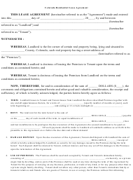 Residential Lease Agreement Template - Colorado