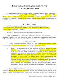 """Residential Lease Agreement Template With Option to Purchase"""