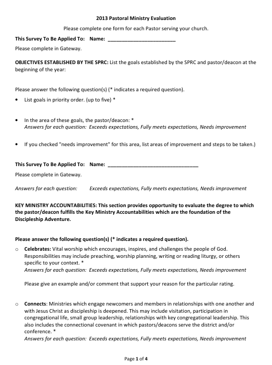 """Pastoral Ministry Evaluation Form"" Download Pdf"