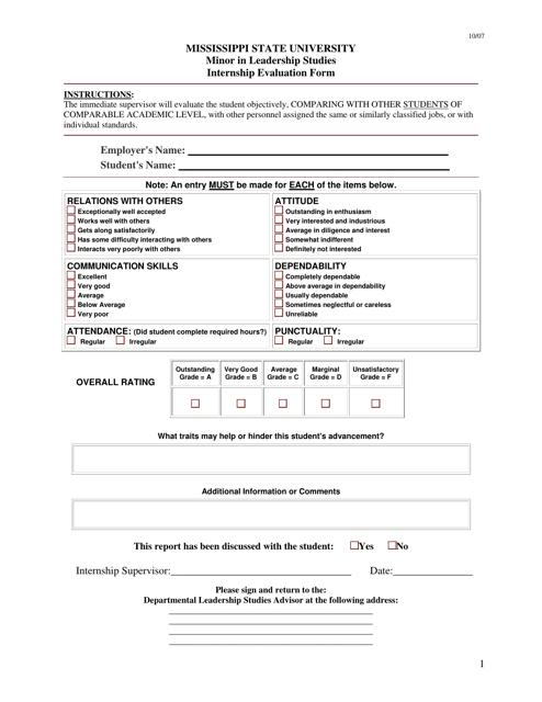 """""""Internship Evaluation Form - Mississippi State University"""" - Mississippi Download Pdf"""