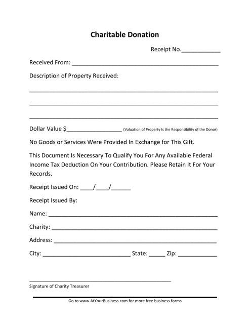 """Charitable Donation Form"" Download Pdf"