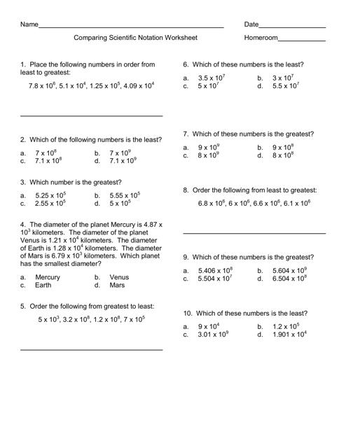 Comparing Scientific Notation Worksheet Download Printable Pdf Templateroller