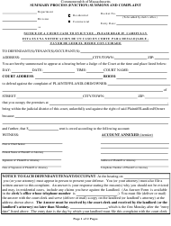 Summary Process (Eviction) Summons and Complaint Form - Massachusetts