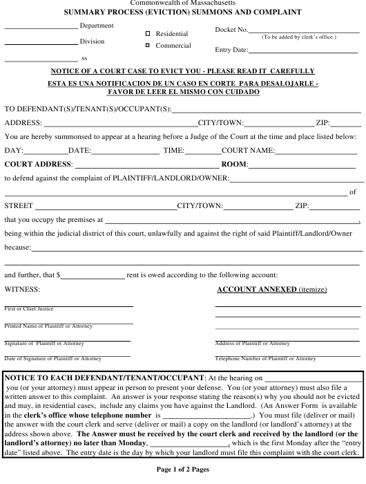 """Summary Process (Eviction) Summons and Complaint Form"" - Massachusetts Download Pdf"