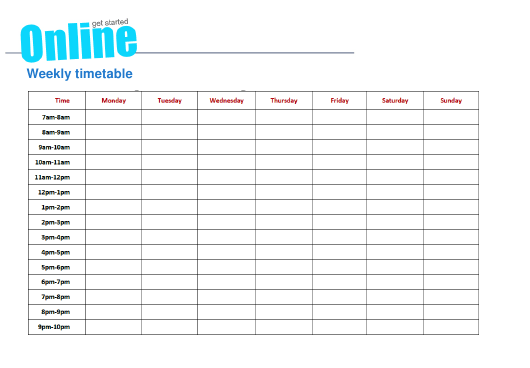 """Weekly Timetable Template With Sample"" Download Pdf"