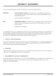 Sample Indemnity Agreement Template