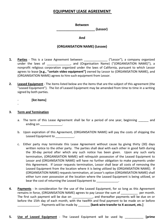 Equipment Lease Agreement Template Download Pdf