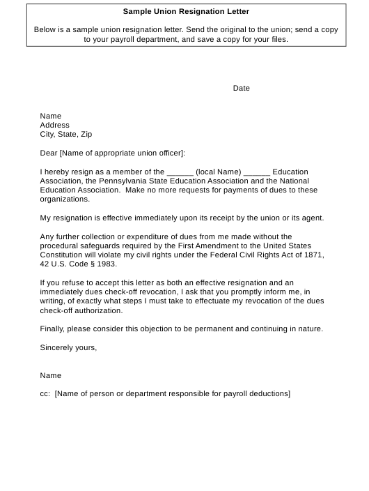 "Sample ""Union Resignation Letter"" - Pennsylvania Download Pdf"