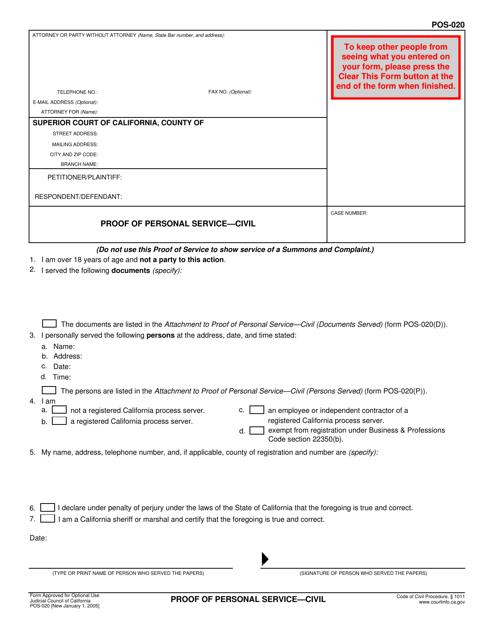 Form POS-020  Printable Pdf