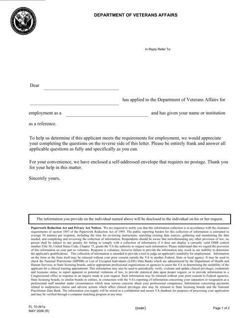 VA Form FL 10-341a Fillable Pdf