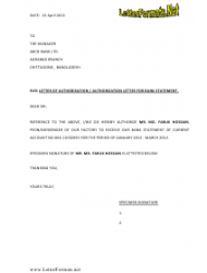 Sample Letter of Authorisation / Authorization Letter for Bank Statement