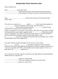 Sample Bad Check Demand Letter Template